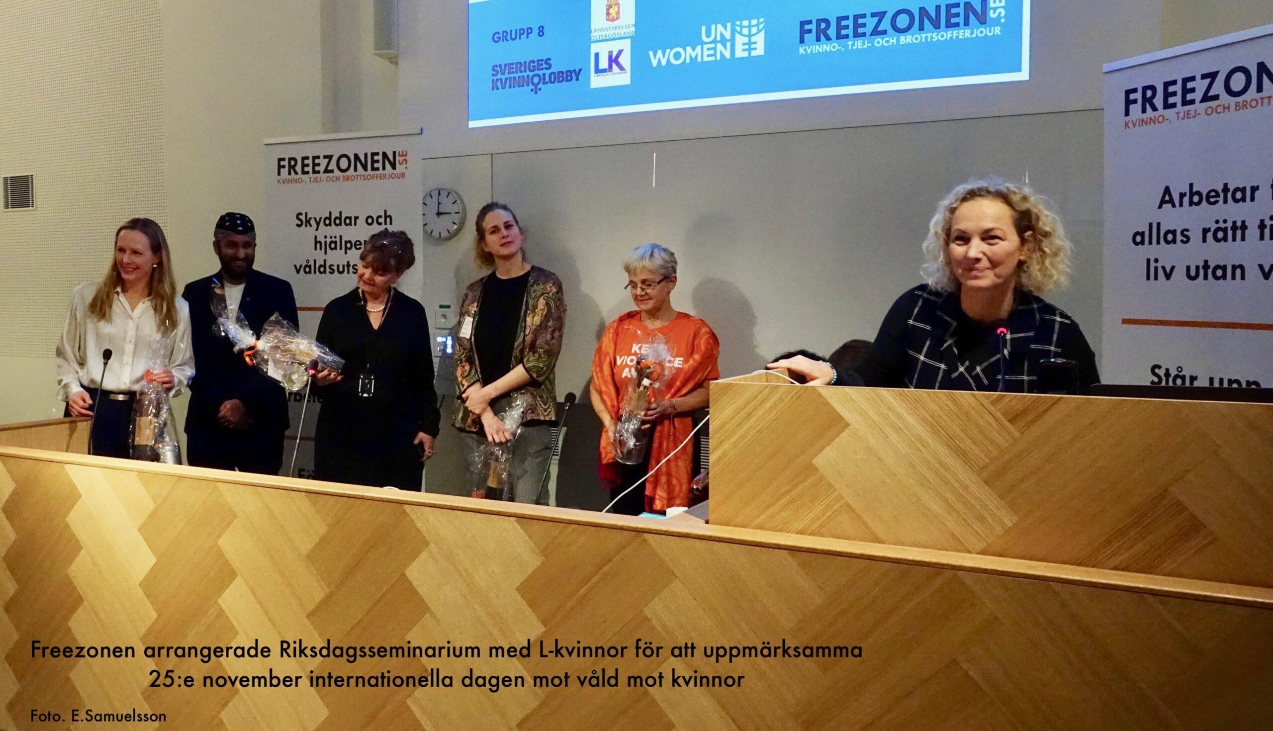 Freezonen arrangerade Riksdagsseminarium med L-kvinnor för att uppmärksamma internationella dagen mot våld mot kvinnor
